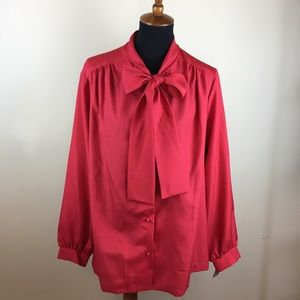 Vintage red pussy bow blouse size 24